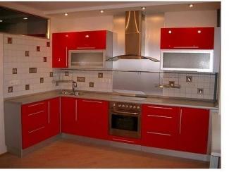 Угловая красная кухня, Мебельная фабрика Арт Мебель, г. Новосибирск