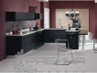 Кухня из шпона в черном цвете Оксфорд, Мебельная фабрика Рябина, г. Москва